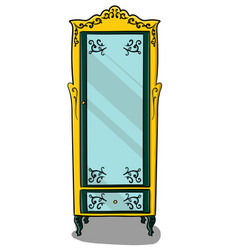 a yellow cupboard with dark turquoise details and vector image vector image