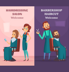banners set with of hairdressers at vector image