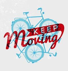 Bike retro grunge outline concept motivation vector image