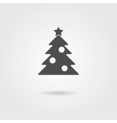 black icon of Christmas tree with shadow vector image vector image