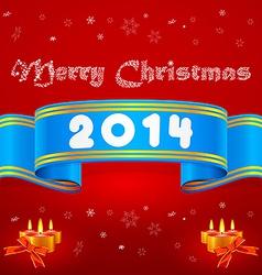 Blue ribbon 2014 christmas background vector