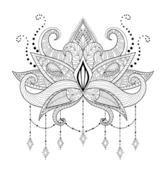 Boho doodle lotus flower blackwork tattoo design vector