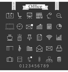 Business and office thin icons set Trendy line vector image