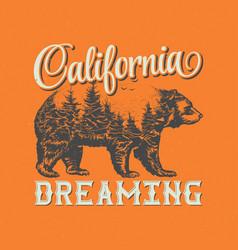 California dreaming t-shirt label design vector