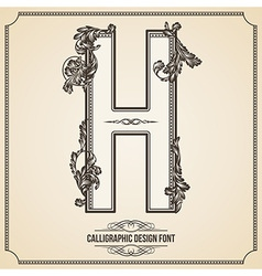 Calligraphic font Letter H vector image