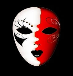 carnival white-red mask vector image vector image