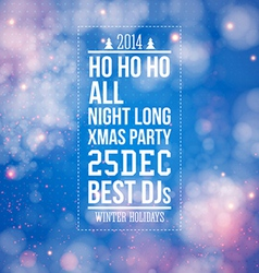 Christmas party poster Blue shiny background vector image