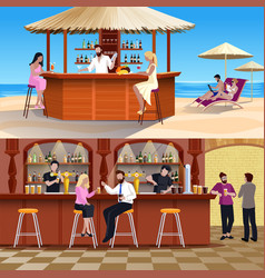 Cocktail people composition set vector
