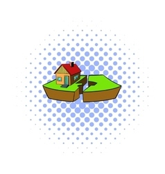 Earthquake and damaged home icon comics style vector