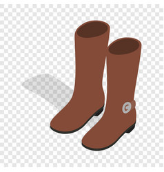 female brown fashion boots isometric icon vector image vector image