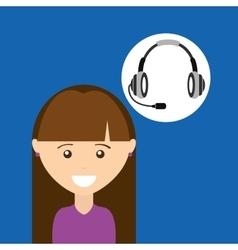 Girl purple shirt headphones for support vector