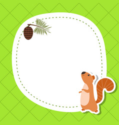 greeting card with cute squirrel greeting card vector image