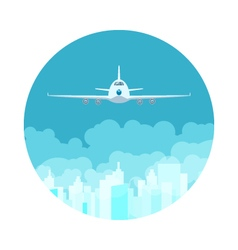 Icon airplane flying high in the sky vector