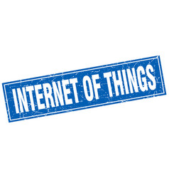 internet of things square stamp vector image vector image