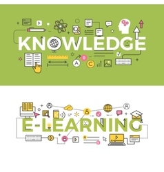 Knowledge and e-learning concept banners vector