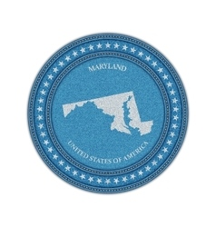 Label with map of maryland Denim style vector image