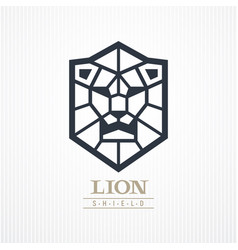 Lion head shield logo vector