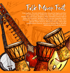 musical festival of folk music sketch poster vector image vector image