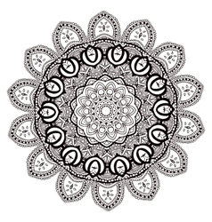 Ornament black white card with mandala vector image vector image