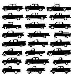 Pickup silhouettes vector image vector image