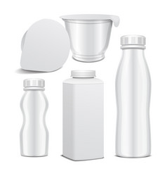 set of plastic bottle and round white vector image vector image