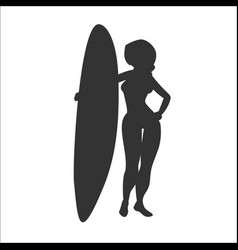 Silhouette of woman stay with surfboard vector
