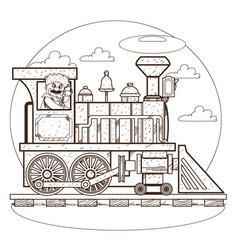 the old steam locomotive railway transport vector image vector image