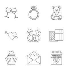 Valentine day icons set outline style vector