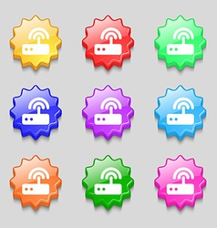 Wi fi router icon sign symbol on nine wavy vector image