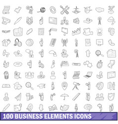 100 business elements icons set outline style vector image