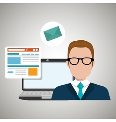 Man laptop email document vector