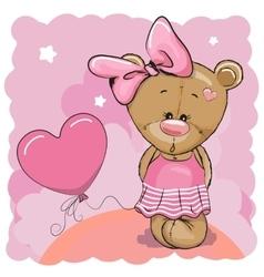 Teddy bear girl with balloon vector