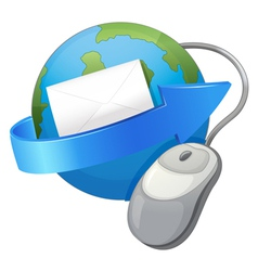earth arrow envelop and a mouse vector image