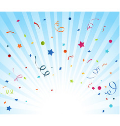 colorful confetti on blue background vector image
