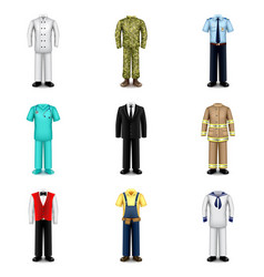 Professions uniforms icons set vector