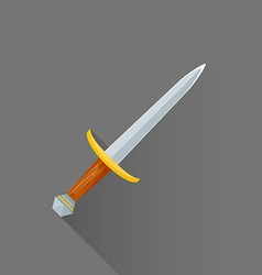 Flat style medieval battle dagger icon vector