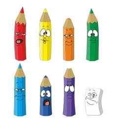 Cartoon emotional pencil set color 10 vector