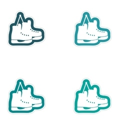Set paper stickers on white background pair of vector