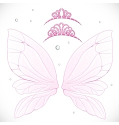 Fairy wings with tiara bundled isolated on a white vector