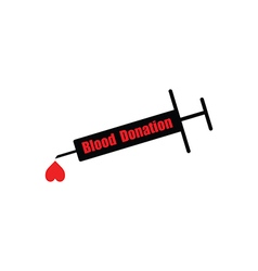 Black syringe with word blood donation vector