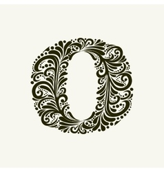 Elegant capital letter o in the style baroque vector