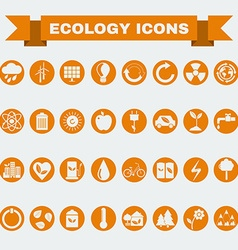 Ecology big icons set vector