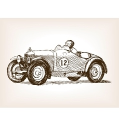 Retro sport race car hand drawn sketch vector