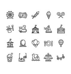 Amusement park outline icon set vector