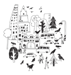 Doodles urban city life street isolate black and vector