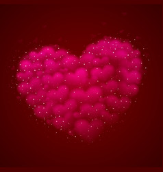 a big pink heart made of small hearts placed vector image
