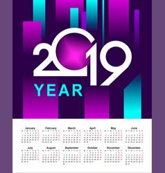 Abstract calendar 2019 year vector