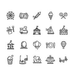 Amusement Park Outline Icon Set vector image