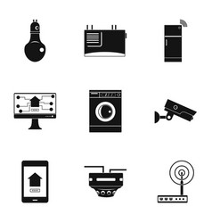 automatic electronic device icon set simple style vector image