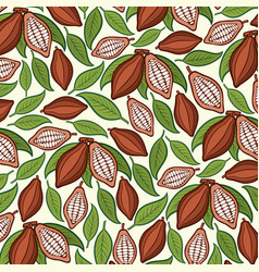Background pattern with cocoa beans vector